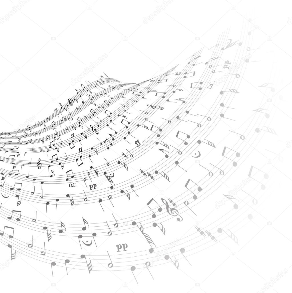 Music theme - wave from the notes on white background — Stock Vector #6355148
