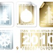 Stock Vector: Set of business Christmas silver and golden labels