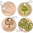 Set of round grunge tags for organic food — Stock Vector
