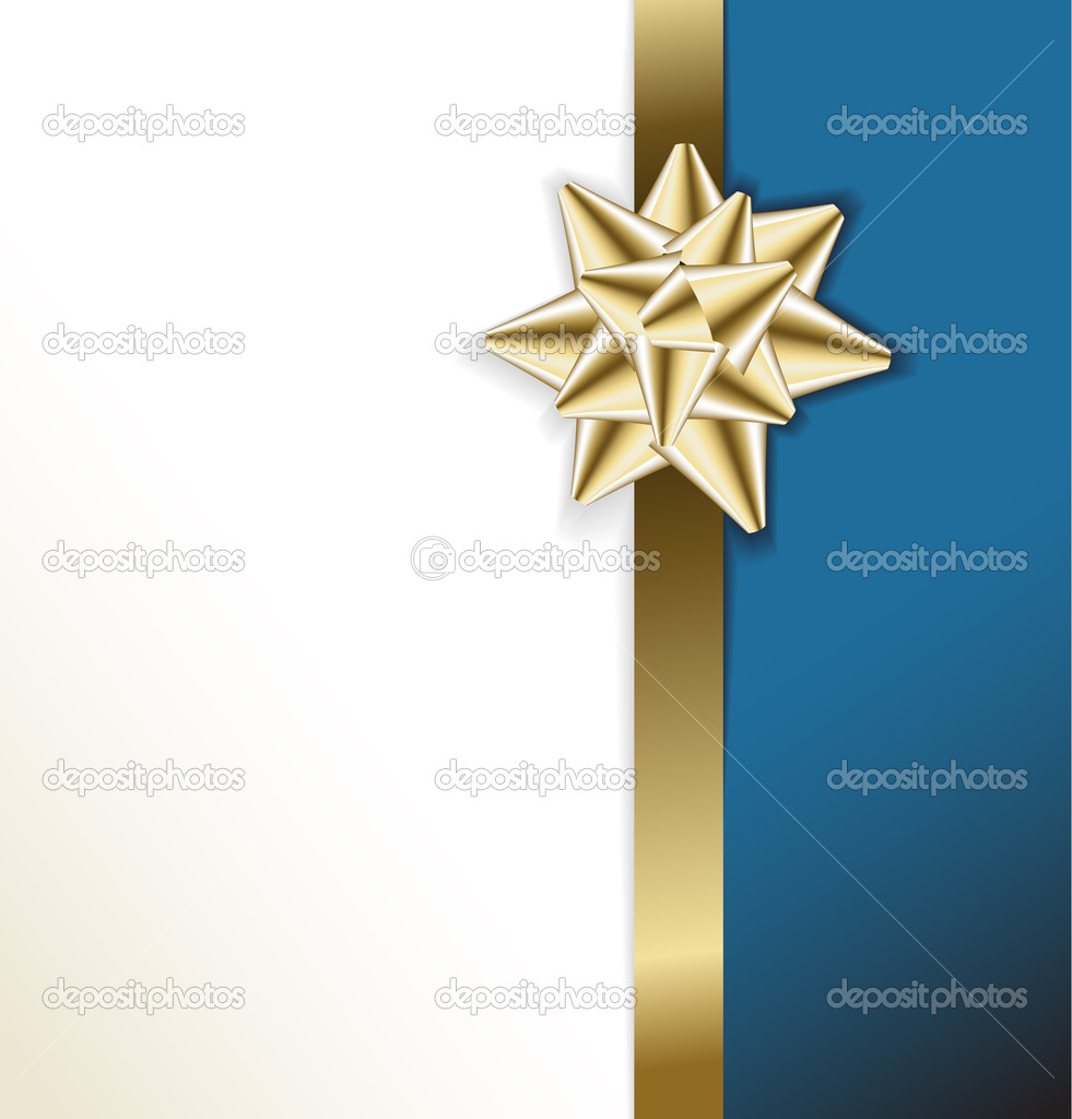 Golden bow on a ribbon with white and blue  background - vector Christmas card  — Stock Vector #6368628