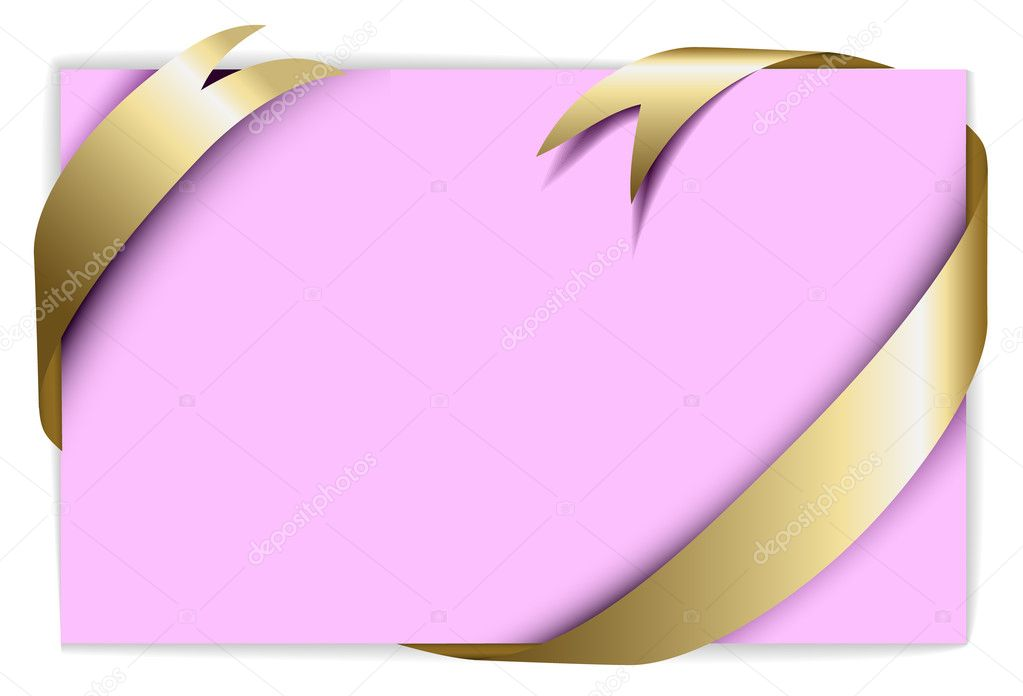 Christmas or wedding card - Golden ribbon around blank rose paper, where you should write your text  — Stock Vector #6368794