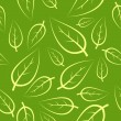 Stock Vector: Fresh green leafs seamless pattern