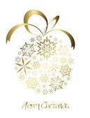 Christmas ball made from golden snowflakes — Stock Vector
