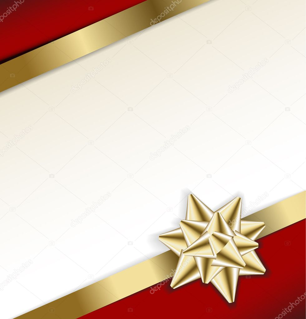 Golden bow on a ribbon with white and red background - vector Christmas card — Stock Vector #6370048