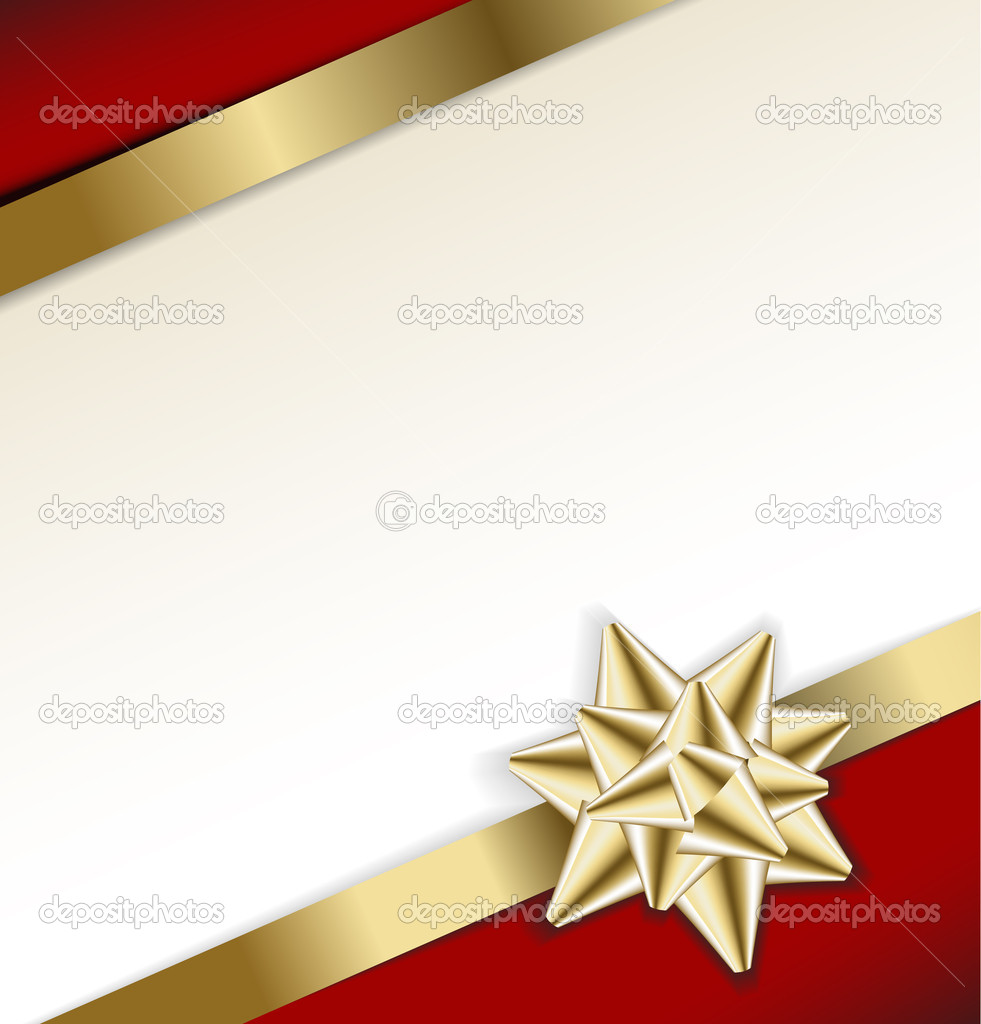 Golden bow on a ribbon with white and red background - vector Christmas card — Stockvectorbeeld #6370048
