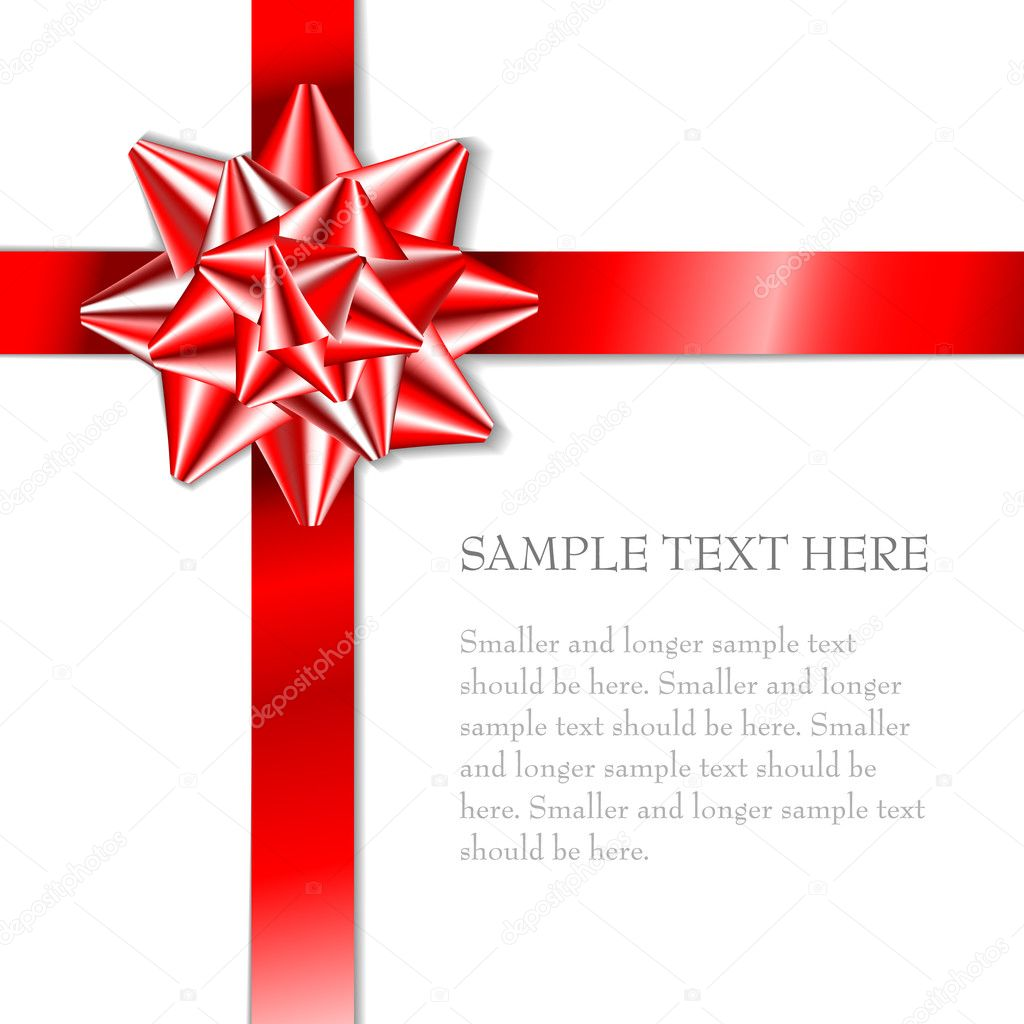 Red bow on a red ribbon with white background - vector Christmas card  — Grafika wektorowa #6370537