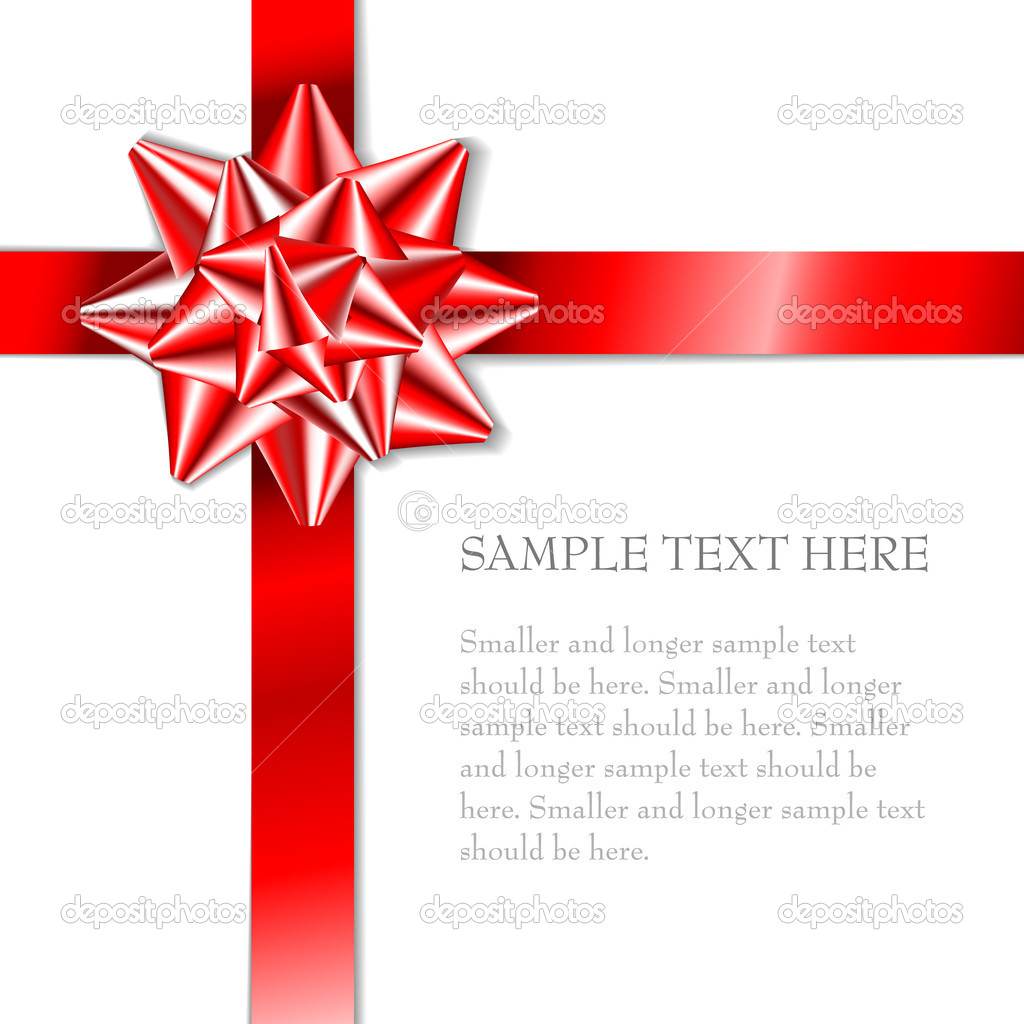 Red bow on a red ribbon with white background - vector Christmas card  — Векторная иллюстрация #6370537