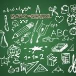 Back to school - set of school doodle vector illustrations — Stock Vector