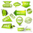Collection of vector green sale tickets, labels, stamps - Stock Vector