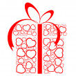 Stylized love present box made from red hearts — Stockvector #6428722