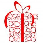 z serca czerwone pudełko stylizowane miłości — Wektor stockowy