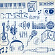 Set of music hand-drawn icons — Stok Vektör
