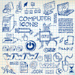 Set of hand-drawn computer icons - Stock Vector