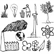 Stock Vector: Set of ecology hand-drawn icons
