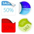 Set of fresh two colors sale labels — Stock Vector