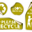 Labels badges and stickers with recycle icons — Stock Vector