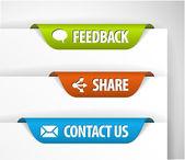 Wektor etykiety opinii, udział i kontakt — Wektor stockowy