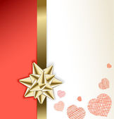 Valentine card with golden bow and hearts — Stock Vector