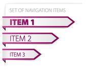 Purple paper arrows - modern navigation items — Stock Vector