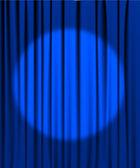 Blue curtain with a spotlight — Stock Vector