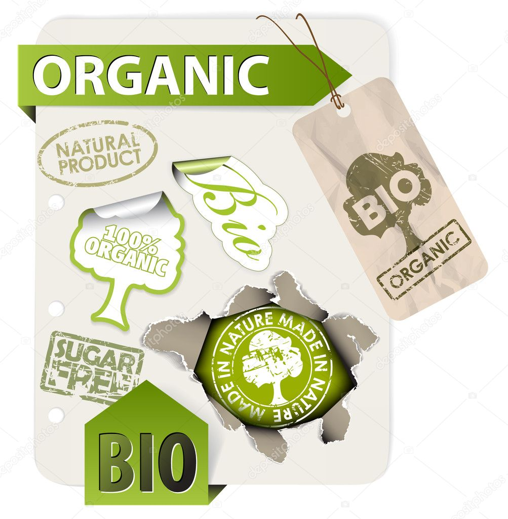 Set of bio, eco, organic elements - labels, stickers, stamps, ribbons on sheet of paper  Stock Vector #6423441