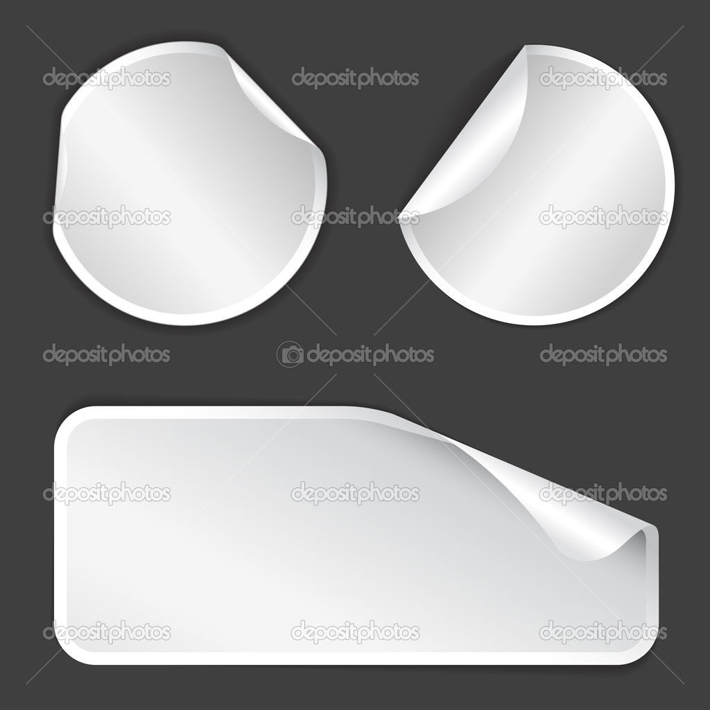 White Labels badges and stickers on gray background — Stock Vector #6423520