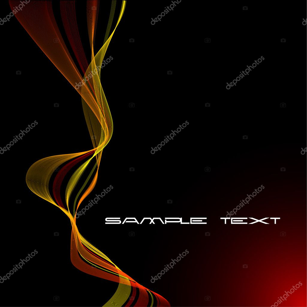 Abstract  red and yellow curves on a black background  Stock Vector #6423532