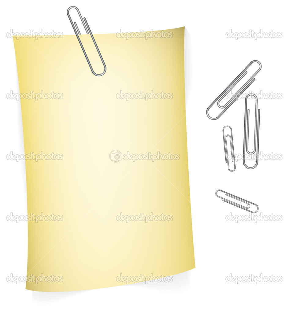 Yellow paper for your notes with paperclips   Stock Vector #6423534