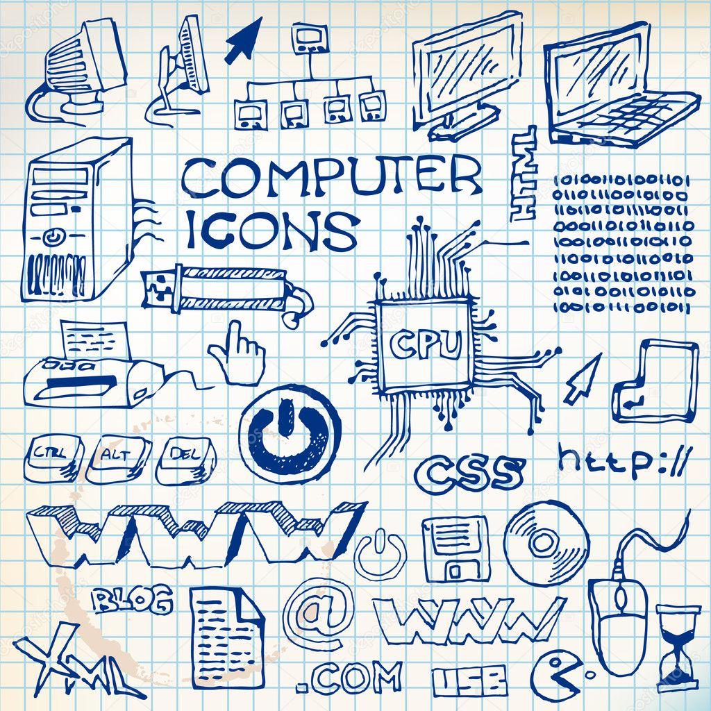 套手绘电脑图标 — 图库矢量图片