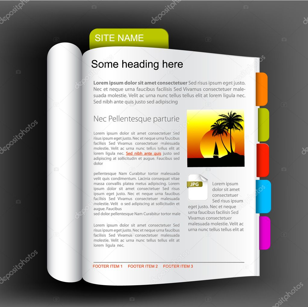 Web site template - Open book with colorful bookmarks — Stock Vector #6429619