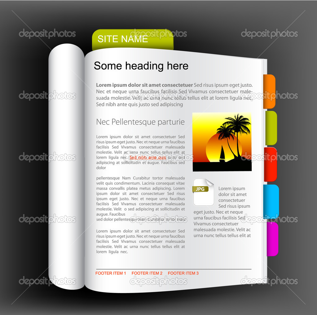 Web site template - open book — Stock Vector © orson #6429619: depositphotos.com/6429619/stock-illustration-web-site-template...