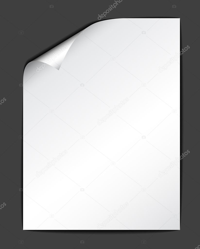 Sheet of white paper on dark background (vector illustration)  — Stock Vector #6429626