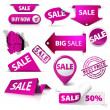 Collection of vector purple sale tickets, labels, stamps, stickers — Stock Vector