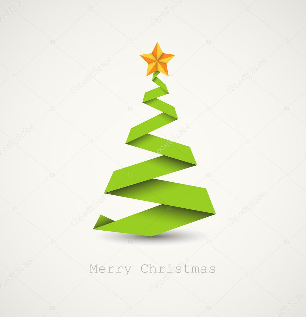 Simple vector christmas tree made from paper stripe - original new year card  Stock Vector #6463486