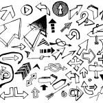 Big set of various black doodle arrows — Stock Vector