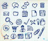Set of doodle computer icons — Stock Vector