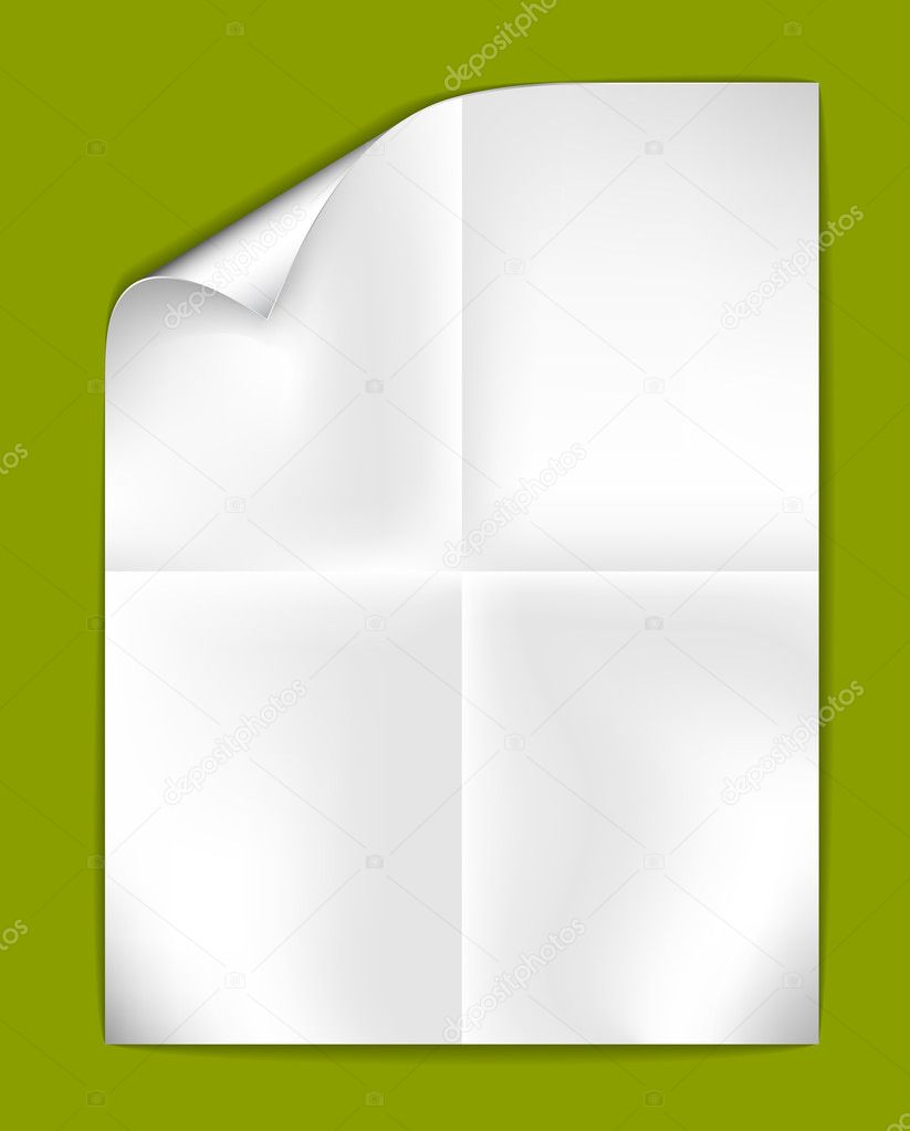 Sheet of folded white paper on a green  background (vector illustration) — Stock Vector #6470838