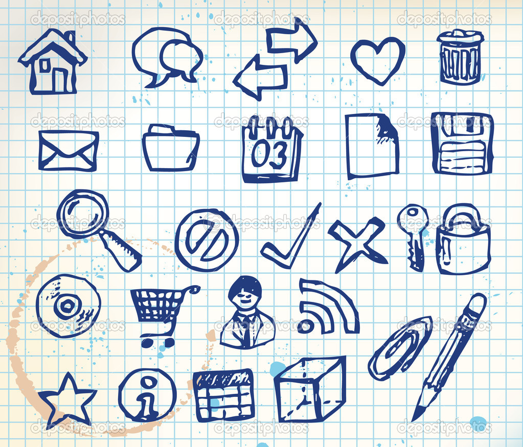 Set of doodle computer icons for your webdesign on squared paper — Stock Vector #6472530