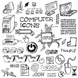 Royalty-Free Stock ベクターイメージ: Set of hand-drawn computer icons