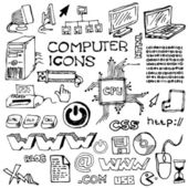 Set of hand-drawn computer icons — Stock Vector