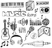 Set of music hand-drawn icons — Stock Vector