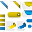 Blue and yellow vector elements for web pages — Stock Vector #6650904