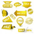 Collection of vector golden yellow sale tickets, labels, stamps — Stock Vector