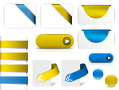 Blue and yellow vector elements for web pages — Stock Vector
