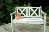 Toy on a wooden bench of the park — Stock Photo