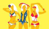 Summer swimsuit yellow — Stock Vector
