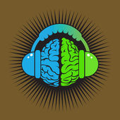 Brain conceptual music — Stock Vector