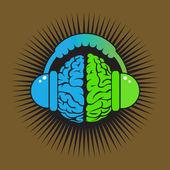 Brain conceptual music — Stock Vector