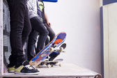 Skate boarders on a pipe — Stock Photo