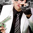 Stock Photo: White suit gangster
